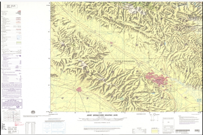 نقشه توپوگرافی شهر مشهد