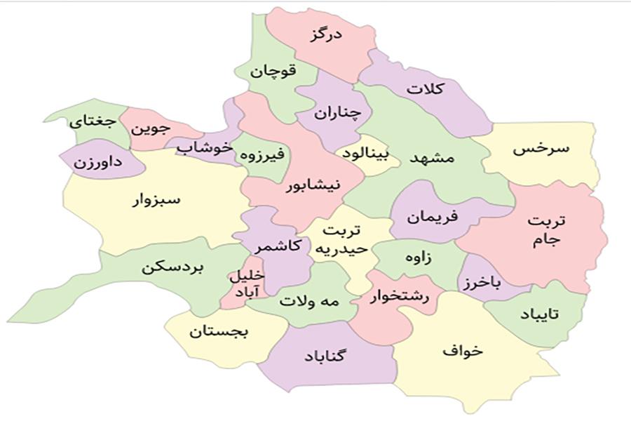 نقشه همسایه های شهر مشهد